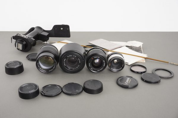 lot of 4x various lenses, hand grip, other accessories