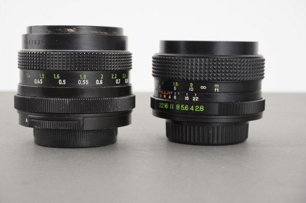 Lot of 2x M42 mount lenses with stuck apertures: 1.8/50 Pentacon + 2.8/28 Unitax