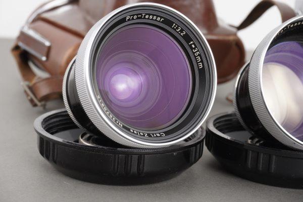 Zeiss Ikon Contaflex camera + 4x lenses, Tessar and Pro-Tessars 35 and 85mm