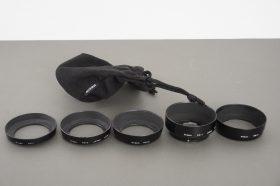 set of Nikon lens hoods: HN-1, HN-2, HN-3, HS-1, HB-2 + pouch