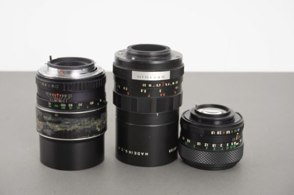 Lot of 3x lenses with stuck or lazy aperture, including Fujinon 55mm 1:1.8 in M42
