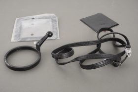 small lot of genuine Hasselblad: mask, cap, no. 1 focus handle, narrow strap