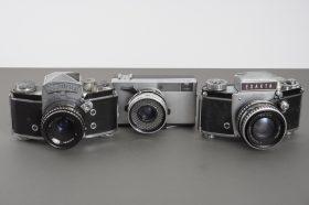 lot of 3x defective cameras, with lenses: Zorki, 2x Exakta (with Pancolar and Domiplan)