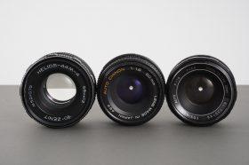 3x standard lenses: 1.8/50 Cosinon, 1.9/50 Chinon, 2/58 Helios – issues
