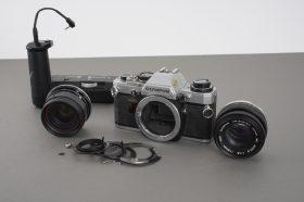 Olympus OM-10 + 2x 50mm Zuiko lenses in parts + OM Winder 2