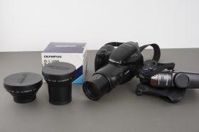 Olympus IS-3000 bridge camera + 2x converters + flash