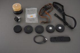 Lot of Leica / Leitz items, caps, straps, case, finder, etc.