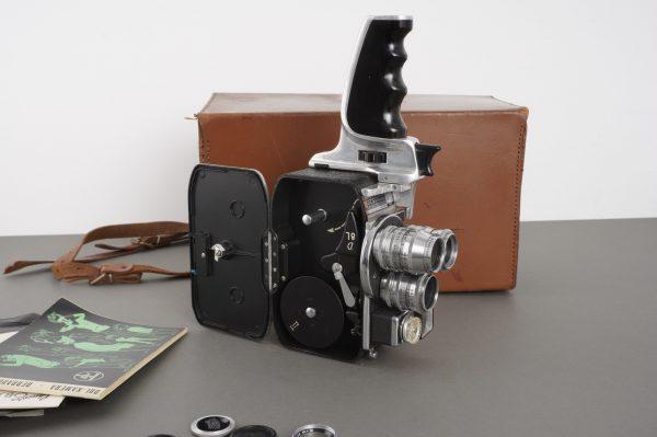 Bolex D8L 8mm camera with 3x Schneider lenses