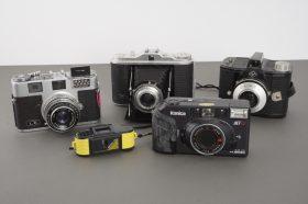 5x various vintage cameras: Samoca, Konica, Agfa, Micro