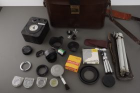 big lot of various accessories in leather case