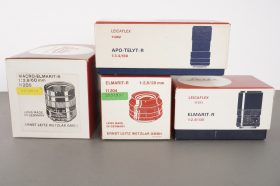 Leica boxes for R lenses: APO-Telyt, Macro-Elmarit, 2x Elmarit