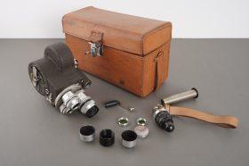 EMEL camera with 3x SOM Berthiot lenses + accs, cased