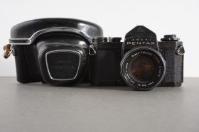 Asahi Pentax SV + Super-Takumar 55mm 1:2, cased, with issues