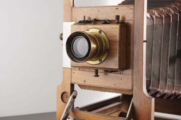 Wooden full plate camera with double extension bed, unmarked, + Rodenstock lens