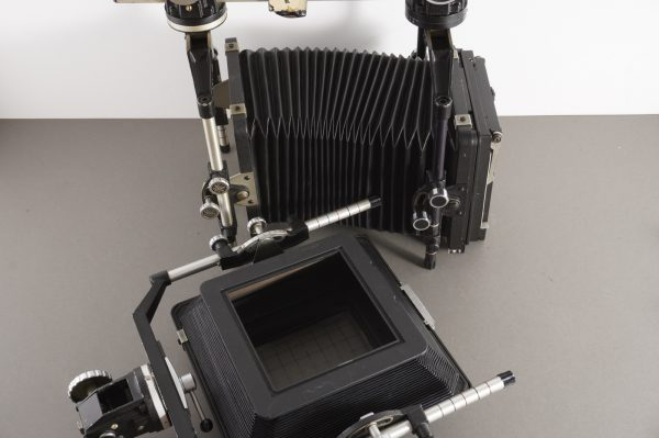 Cambo monorail camera, 4×5 and 5×7 backs + bellows