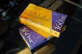 Kodak Portra 160NC. 5-pack 120 roll film. Expired 2002
