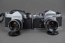 2x vintage SLR cameras: Yashica + Miranda