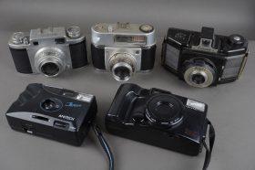 5x vintage cameras, Olympus, Mamiya, Coronet