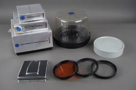 lot of Hasselblad accs: filters, damaged WLF, case, empty boxes